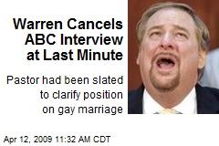 Warren Cancels ABC Interview at Last Minute