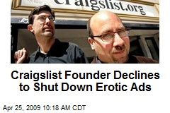 Craigslist Founder Declines to Shut Down Erotic Ads