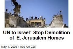 UN to Israel: Stop Demolition of E. Jerusalem Homes