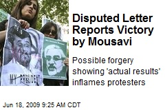Disputed Letter Reports Victory by Mousavi