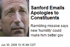 Sanford Emails Apologies to Constituents