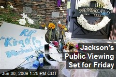 Jackson's Public Viewing Set for Friday