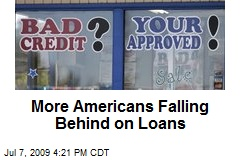 More Americans Falling Behind on Loans