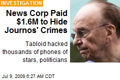 News Corp Paid $1.6M to Hide Journos' Crimes