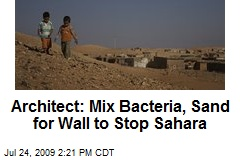 Architect: Mix Bacteria, Sand for Wall to Stop Sahara