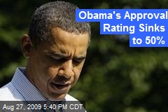 Obama's Approval Rating Sinks to 50%