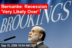 Bernanke: Recession 'Very Likely Over'