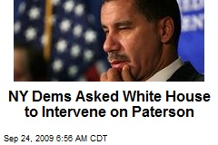 NY Dems Asked White House to Intervene on Paterson