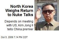 North Korea Weighs Return to Nuke Talks