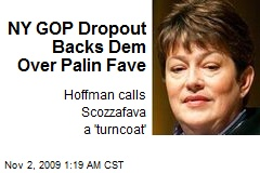 NY GOP Dropout Backs Dem Over Palin Fave