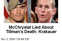 McChrystal Lied About Tillman's Death: Krakauer