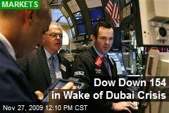 Dow Down 154 in Wake of Dubai Crisis