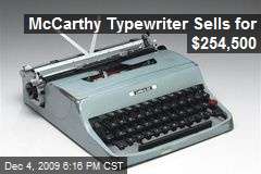 McCarthy Typewriter Sells for $254,500