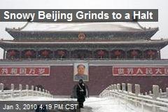 Snowy Beijing Grinds to a Halt