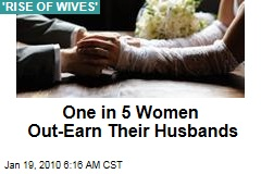 One in 5 Women Out-Earn Their Husbands