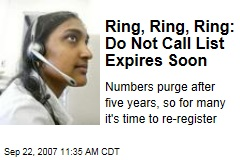 Ring, Ring, Ring: Do Not Call List Expires Soon