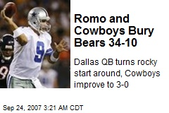 Romo and Cowboys Bury Bears 34-10