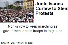 Junta Issues Curfew to Stem Protests