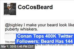 Conan Tops 400K Twitter Followers; Beard Has 144