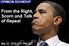 From the Right, Scorn and Talk of Repeal