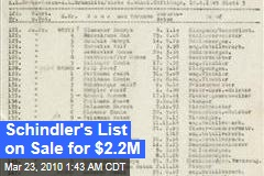 Schindler's List on Sale for $2.2M