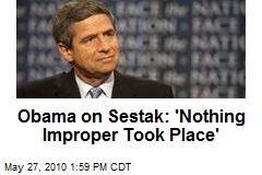 Obama on Sestak: 'Nothing Improper Took Place'