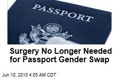 Surgery No Longer Needed for Passport Gender Swap