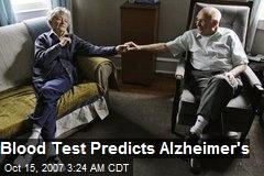 Blood Test Predicts Alzheimer's