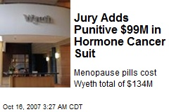 Jury Adds Punitive $99M in Hormone Cancer Suit