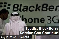 Saudis: BlackBerry Service Can Continue
