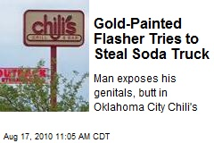 Gold-Painted Flasher Tries to Steal Soda Truck