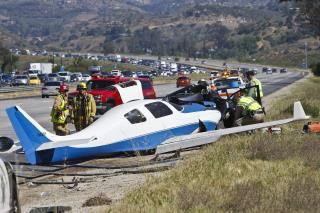Plane Hits Car on California Freeway, Killing 1, Injuring 5
