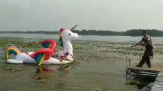 Deputy Rescues Giant Inflatable Unicorn Stuck in Lake