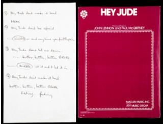 McCartney's Scribbled 'Hey Jude' Lyrics Sell for $910K