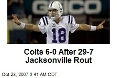 Colts 6-0 After 29-7 Jacksonville Rout