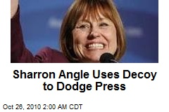 Sharron Angle Uses Decoy to Dodge Press