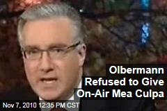 Olbermann Refused On Air Mea Culpa