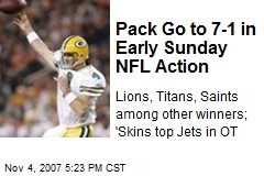 Pack Go to 7-1 in Early Sunday NFL Action