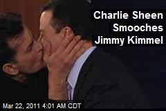 Charlie Sheen Smooches With Jimmy Kimmel