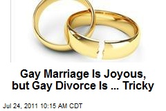 Gay Marriage Is Joyous, but Gay Divorce Is ... Tricky
