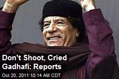 Don't Shoot, Cried Gadhafi: Reports