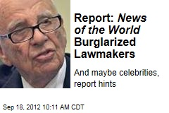 Report: News of the World Burglarized Lawmakers