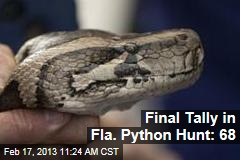 Final Tally in Fla. Python Hunt: 68