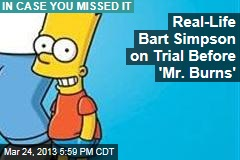 Real-Life Bart Simpson on Trial Before 'Mr. Burns'