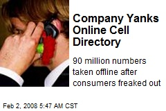 Company Yanks Online Cell Directory