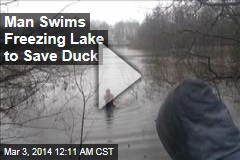 Man Swims Freezing Lake to Save Duck