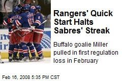 Rangers' Quick Start Halts Sabres' Streak