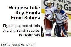 Rangers Take Key Points From Sabres