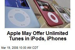 Apple May Offer Unlimited Tunes in iPods, iPhones