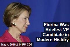 Fiorina Was Briefest VP Candidate in Modern History